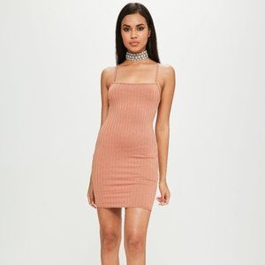 NWT MISSGUIDED X Carli Bybel Ribbed Strappy Dress